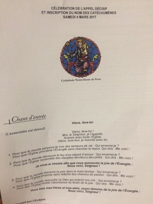 Appel décisif des catéchumènes  à Notre Dame de Paris ce samedi 4 mars 2017