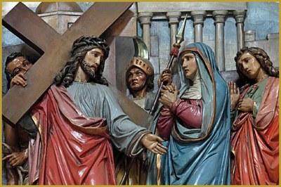 Chemin de croix (Station IV, Jésus rencontre sa mère), bois polychrome, Notre-Dame de l'Assomption de Rouffach, France