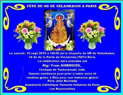 F te de notre dame de velankanni paris - 10 avenue de la porte de menilmontant ...